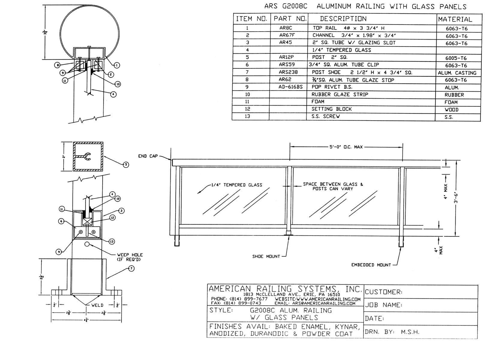 CAD DETAILS - AMERICAN RAILING SYSTEMS, INC